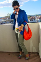 blue Steve Madden wedges - blue Forever 21 blazer - red kate spade bag