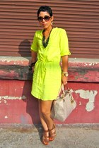 yellow neon Old Navy dress - beige Michael Kors bag - brown Soda wedges