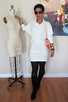 ivory DIY dress - black boots