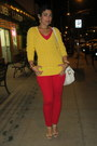 Gold-american-eagle-sweater-ivory-michael-kors-bag-ruby-red-express-pants