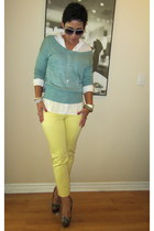 light yellow Forever 21 pants - aquamarine Forever 21 sweater