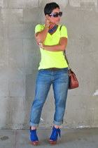 blue lulus shoes - navy Target jeans - brown coach bag - yellow Target top