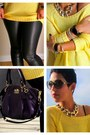 Black-leather-h-m-leggings-gold-h-m-sweater-deep-purple-coach-bag