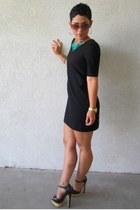 black Bebe shoes - black DIY dress - turquoise blue Charlotte Russe necklace