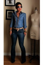 tan NY&CO belt - navy Forever 21 jeans - blue banana republic shirt