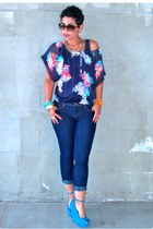 turquoise blue Wild Pair pumps - navy Forever 21 jeans - American Eagle top