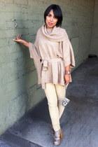 eggshell Steve Madden boots - tan Mimi G pants - beige H&M cape