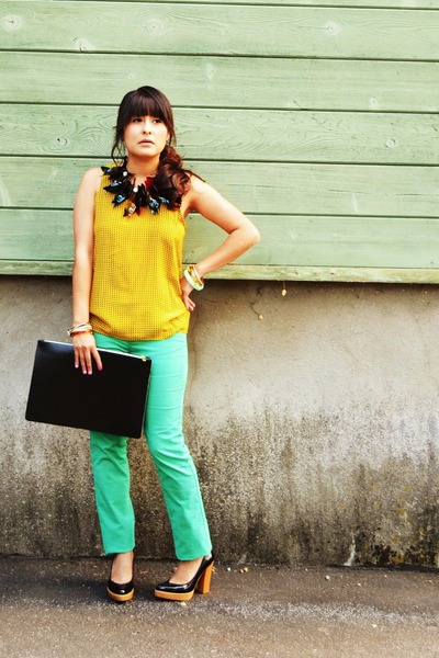 green Marni for H&M necklace - mustard vintage blouse
