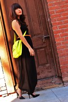 black sheer skirt Forever 21 dress - lime green cross-body Target purse