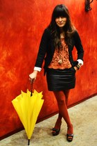 burnt orange Target tights - black faux leather f21 skirt
