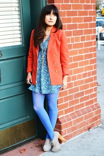 violet Target tights - carrot orange H&M blazer - sky blue H&M blouse
