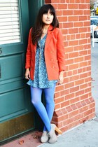 violet Target tights - carrot orange H&M blazer - sky blue H&M blouse