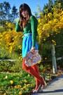 Green-zara-sweater-tawny-target-tights-crossroads-purse
