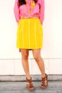 Yellow-striped-vintage-skirt-bubble-gum-polka-dot-vintage-shirt