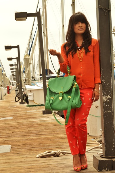 carrot orange Forever 21 pants - teal modcloth bag - carrot orange Aldo pumps