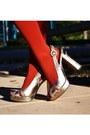 Gold-charles-david-heels-green-zara-sweater-tawny-target-tights