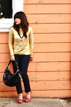 gold H&M sweater - black Lotus Premium Denim jeans - black Donney & Bourke purse