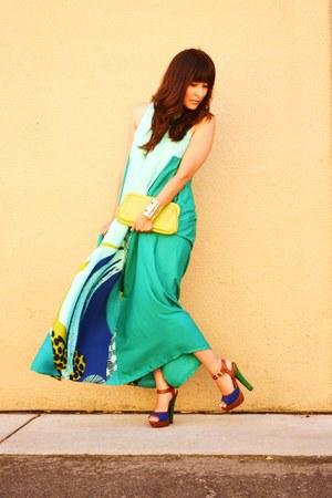 aquamarine H&M dress - lime green vintage purse - navy Sole Society heels