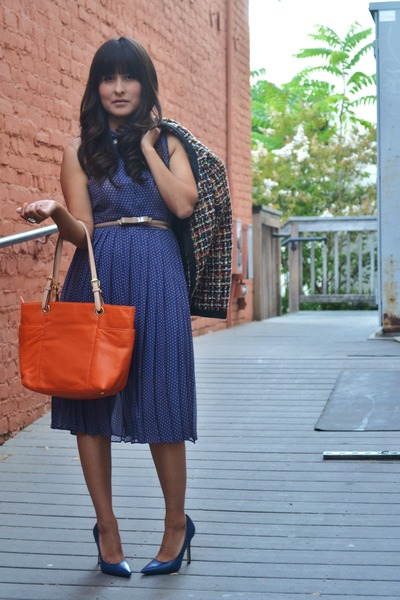 navy H&M dress - navy H&M jacket - orange Michael Kors bag