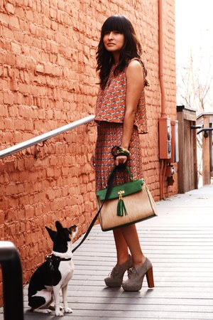 green Aldo purse - coral rope print everly dress