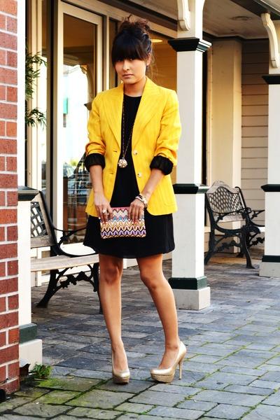 gold glitter Bakers pumps - black babydoll H&M dress - gold Michael Kors blazer