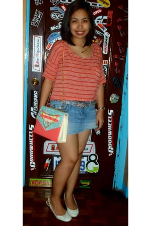 bubble gum candy bag bag - blue denim abercrombie and fitch skirt - black belt
