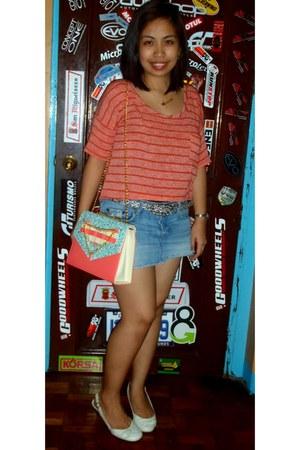 bubble gum candy bag bag - blue denim abercrombie and fitch skirt - black belt