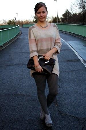 light pink H&M dress - heather gray H&M wedges