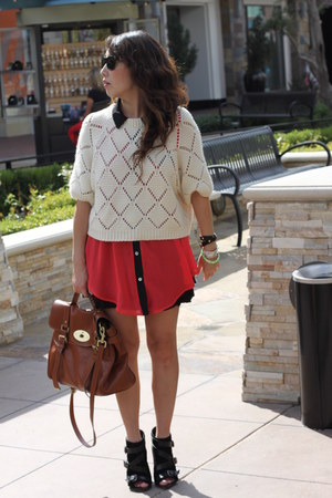 white H&M cardigan - black Steve Madden boots - bronze Mulberry bag