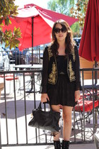 black balenciaga bag - gold vest - black vintage blouse