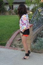 bubble gum jacket - orange Levis shorts - black Topshop blouse