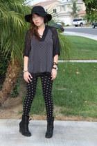 black Aldo boots - black H&M Trend hat - white Forever 21 leggings