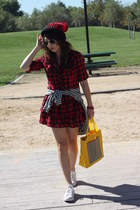 ruby red plaid dress - ruby red from my son hat - black plaid Anne Klein shirt