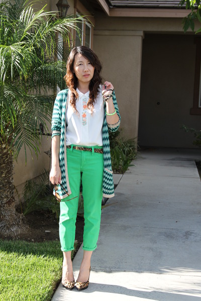 olive green Urban Outfitters cardigan - chartreuse BCBG jeans