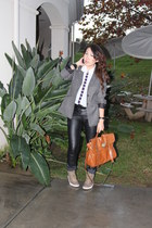 black leather asos pants - brown Zara jacket - tawny Mulberry bag