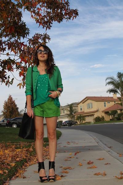 chartreuse Zara shorts - olive green vintage blazer - teal Zara blouse