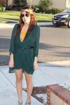 teal sheer dress - mustard blouse