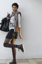 brown ASH shoes - black skirt - black Axara accessories - socks - white Bershka