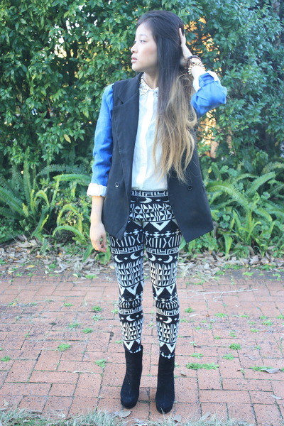 sky blue suede marco polo blazer - black wool Something Else leggings