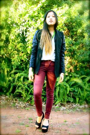 black Neon Hart blazer - brick red denim Lee jeans