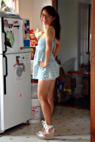 white wedges - sky blue dress - neutral shorts