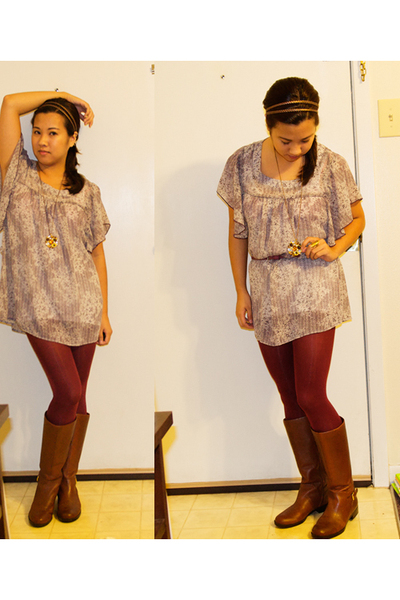 Charlotte Russe top - unknown brand leggings - boots - Forever 21 accessories -