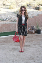 polka dot f21 skirt - faux patent The Limited belt - striped H&M t-shirt