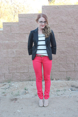 Mossimo jeans - loft striped Sweater sweater - The Limited blazer