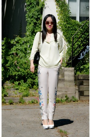 white H&M heels - black Chanel bag - ivory H&M pants - lime green H&M blouse