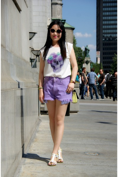 yellow H&M bag - amethyst Levis shorts - nude H&M sunglasses - white H&M t-shirt