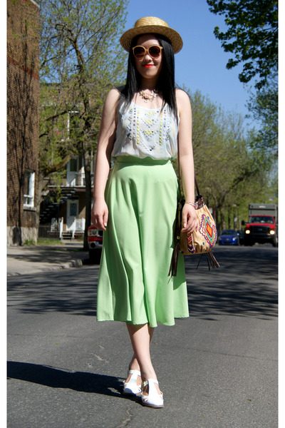chartreuse American Apparel skirt