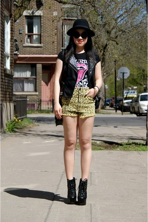 black Jeffery Campbell boots - yellow Urban Outfitters shorts