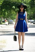blue Olivia dress - black H&M hat - black Chanel bag