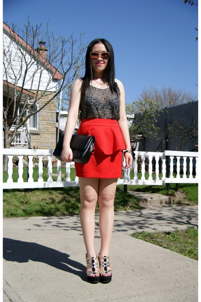 red Urban Outfitters skirt - black Chanel bag - pink Aldo sunglasses
